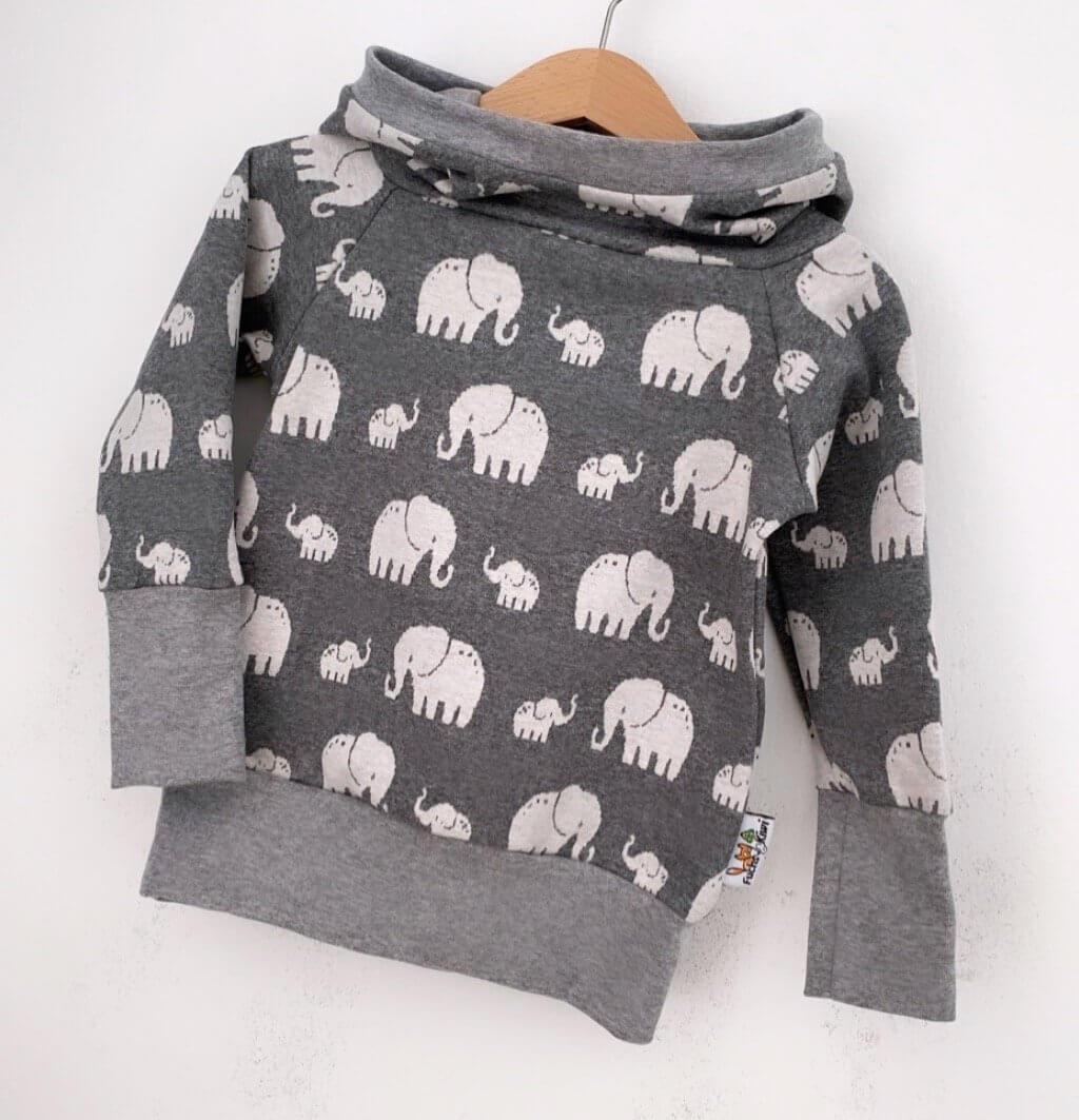 Hoodie Strick Elefanten grau