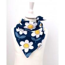 Halstuch zum Binden Blumen dunkelblau/weiss