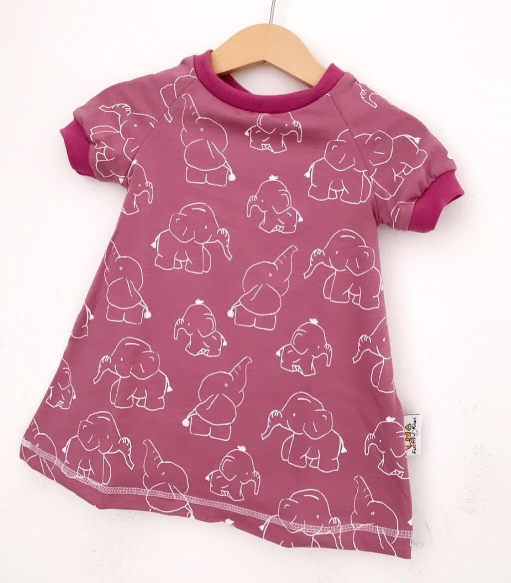 Kurzarmkleid Elefanten beere