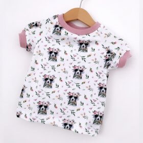 T-Shirt Waschbär & Blumen