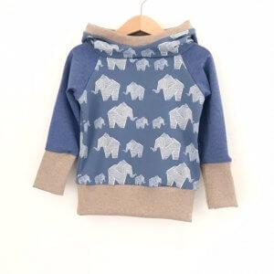 Hoodie Elefanten rauchblau