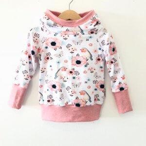 Hoodie mit Vögelchen rosa