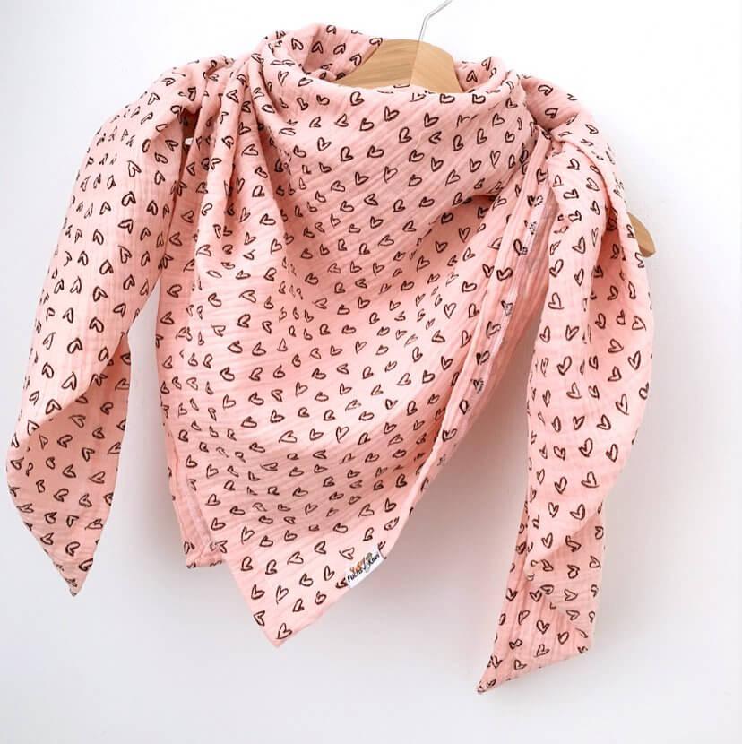 Tuch für Mama Musselin Herzen rosa