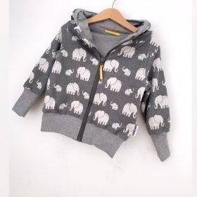 Sweatjacke Strick Elefanten grau