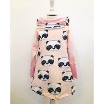 Hoodiekleid mit Panda rosa