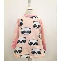 Langarmkleid mit Panda rosa