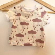 T-Shirt mit Wolken & Regentropfen altrosa