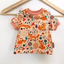 T-Shirt mit Füchsen & Blumen lachs