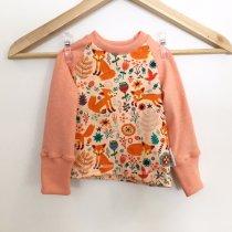 Langarmshirt mit Füchsen & Blumen lachs