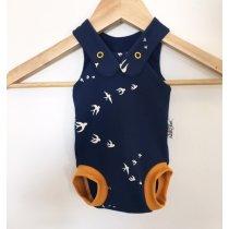 Sommerstrampler mit Schwalben dunkelblau