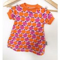 Kurzarmkleid mit Äpfeln rosa/orange