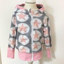 Sweatjacke Sterne rosa/grau