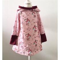 Hoodiekleid mit Winterrehen rosa