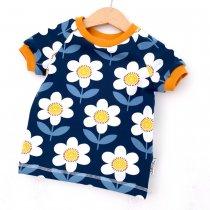 T-Shirt Blumen dunkelblau/weiss