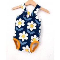 Sommerstrampler Blumen dunkelblau/weis
