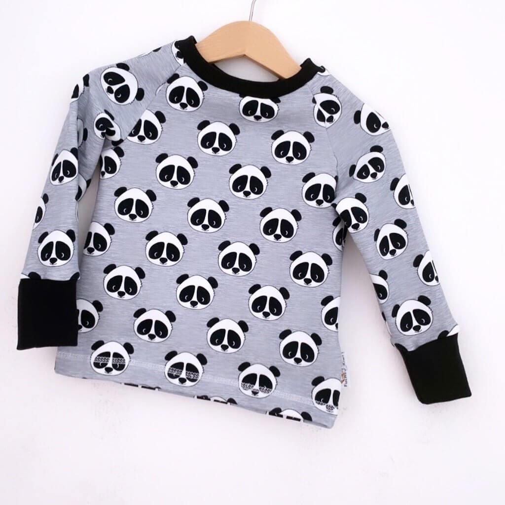 Langarmshirt Panda grau meliert