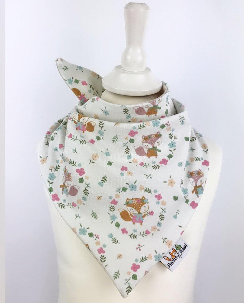 Halstuch zum Binden Füchse & Blumen creme