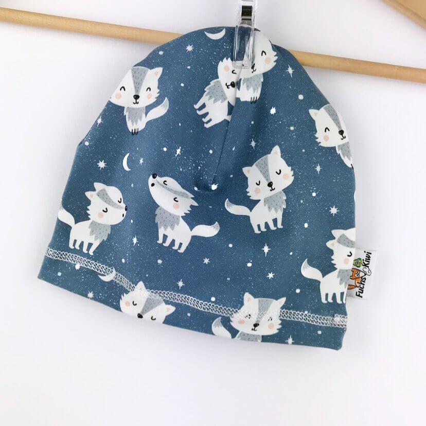Beanie Wölfchen dunkelblau