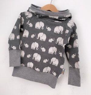 Hoodie für Mama Strick Elefanten grau