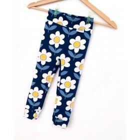 Leggings Blumen dunkelblau/weiss