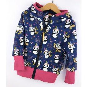 Sweatjacke Panda dunkelblau