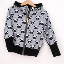 Sweatjacke Panda grau meliert