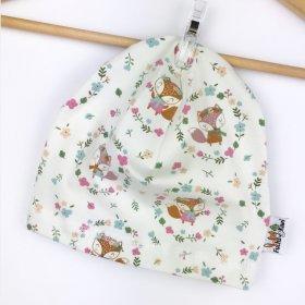 Beanie Füchse & Blumen creme