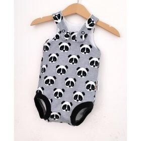 Sommerstrampler Panda grau meliert
