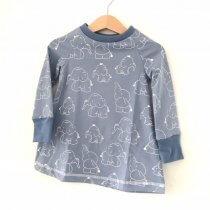 Langarmkleid Elefanten rauchblau/weiss 74/80
