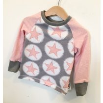 Langarmshirt Sterne rosa/grau 74/80
