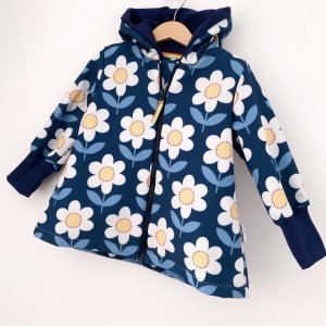 Softshellmantel Blumen dunkelblau