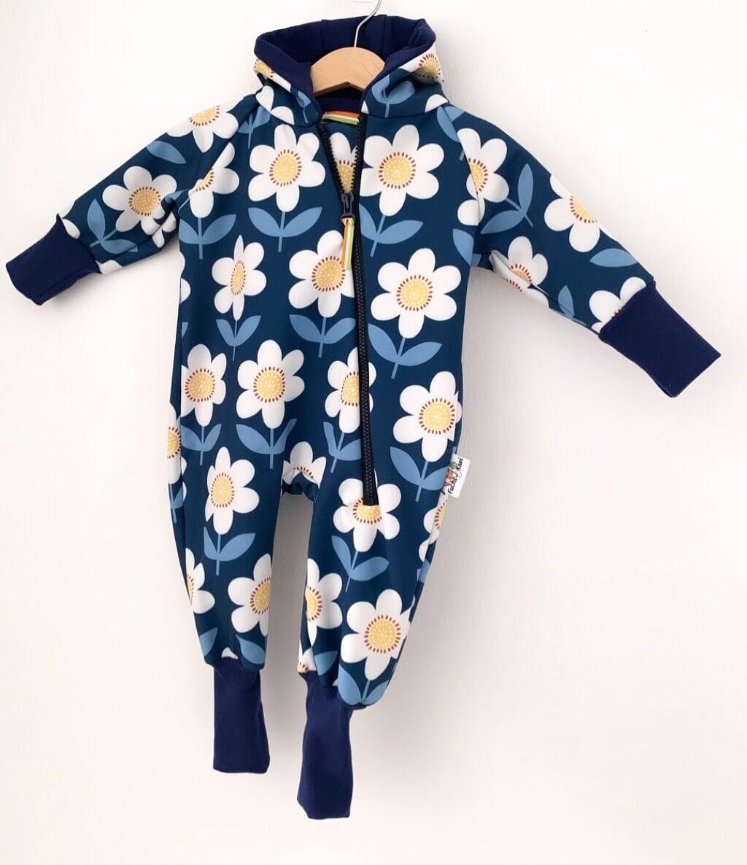 Softshelloverall Blumen dunkelblau