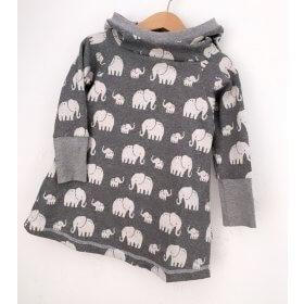 Hoodiekleid Strick Elefanten grau