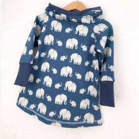 Hoodiekleid Strick Elefanten rauchblau