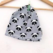 Beanie Panda grau meliert