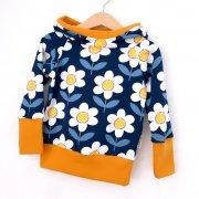 Hoodie Blumen dunkelblau/weiss